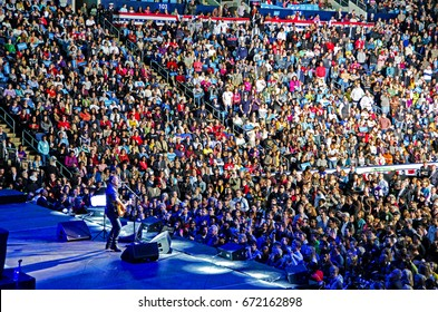 COLUMBUS, OHIO - November 5, 2012: Bruce Springsteen performing in front of a crowd in President Obama re-election campaign in Columbus, OH. Editorial Use Only.