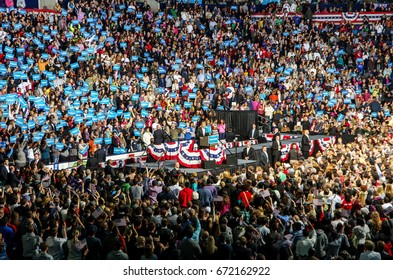 COLUMBUS, OHIO - November 5, 2012: President Obama speaking and waving to his supporter in a re-election campaign rally in Columbus, OH Editorial Use Only.