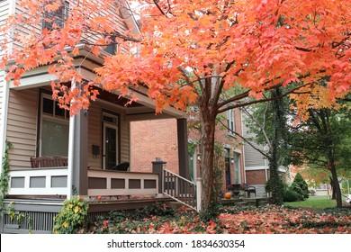 Columbus Ohio October 12, 2020 Vibrant Autumn leaves in a residential neighborhood.