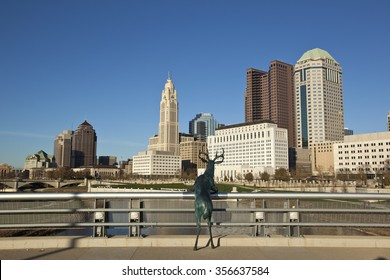 COLUMBUS, OHIO - OCTOBER 25, 2015:  The iconic deer statue stands on the Rich Street Bridge gazing at the city of Columbus.