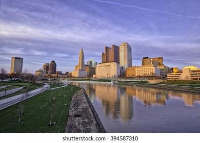 Columbus, Ohio reflected in the Scioto river