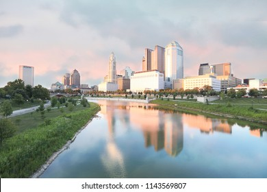 Columbus, Ohio  riverfront along the Scioto River.  The Scioto Mile pathways create a popular park area in the downtown district of the city.