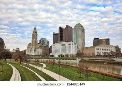 Columbus, Ohio sits along the banks of the Scioto River.  The Scioto Mile Park offers beautiful views of the downtown city skyline.