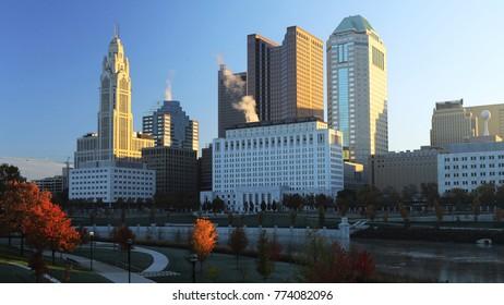The Columbus, Ohio skyline after sunrise
