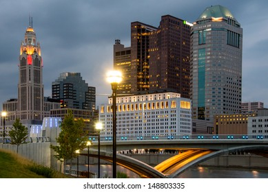 Columbus Ohio Skyline after Sunset with New Rich Street Bridge