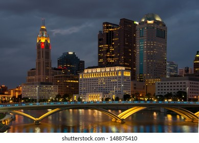Columbus Ohio Skyline after Sunset with New Rich Street Bridge Lit in Blue Lights