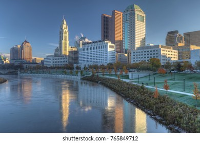 The Columbus, Ohio skyline on a beautiful day