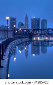 Columbus, Ohio Skyline overlooking the Scioto River at Sunrise