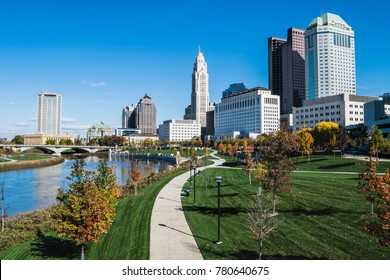 The Columbus, Ohio skyline and Scioto Mile.