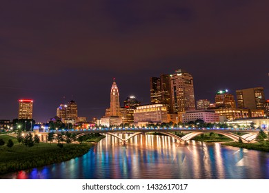 Columbus Ohio Skyliune during a summer night in a long exposure.