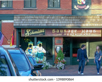 Columbus Ohio - United States.  April 14th, 2006.  An image of the front of Schmidt's Sausage Haus in German Village, Columbus.