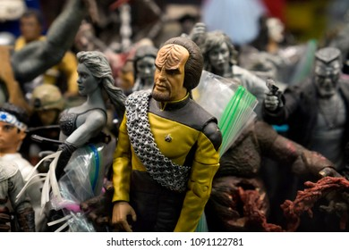 Columbus, Ohio / USA - 04.17.2018 - Figures in an old retro toy shop with a star trek character Worf in the focus