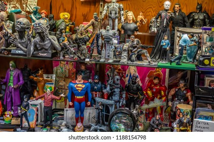 Columbus, Ohio / USA - 04.17.2018 - Figures in an old retro toy shop movie characters