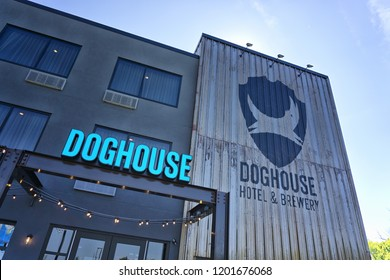 COLUMBUS, OHIO, USA - August 25, 2018: Brewdog scottish Craft Brewery opens a new beer hotel called DogHouse.