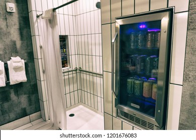 COLUMBUS, OHIO, USA - August 25, 2018: Brewdog scottish Craft Brewery opens a new beer hotel with a beer fridge in the shower.