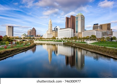 Columbus, Ohio, USA skyline on the Scioto River.