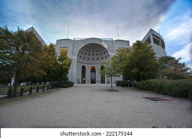 "COLUMBUS, OHIO-OCTOBER 5, 2014:  The Ohio State University is home to the Buckeyes who play their home football games at Ohio Stadium, also known at ""The Shoe"".  The stadium first opened in 1922."