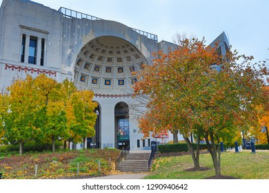 COLUMBUS, OHIO/UNITED STATES - NOVEMBER 4, 2018:  Historic Ohio stadium on the Ohio State University campus is home to the OSU Buckeyes.  This landmark, also known as The Shoe, was built in 1922.