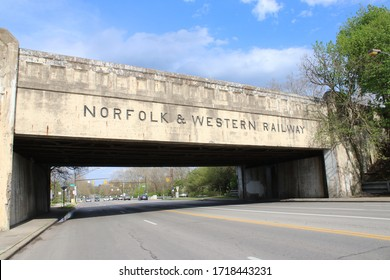 Columbus, Ohio-USA April 28, 2020 Norfolk & Western Railway Train  Bridge overpass.