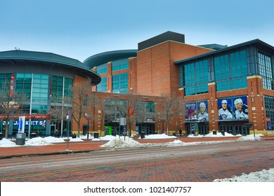 COLUMBUS, OHIO/USA - FEBRUARY 10, 2018:  Nationwide Arena is the home of the Blue Jackets hockey team in Columbus, Ohio.