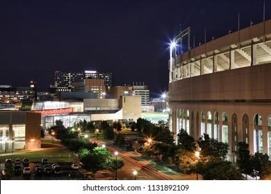 COLUMBUS, OHIO/USA - JULY 10, 2018:  Ohio Stadium on the campus of The Ohio State University in Columbus, Ohio is home to the football Buckeyes.