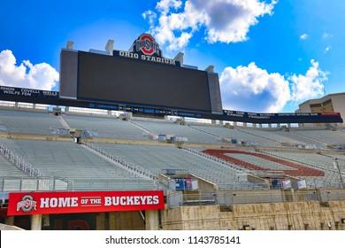 COLUMBUS, OHIO/USA - JULY 27, 2018:  Ohio Stadium its the home of the Ohio State Buckeyes football team.  This historic landmark is also called The Shoe or Horseshoe.