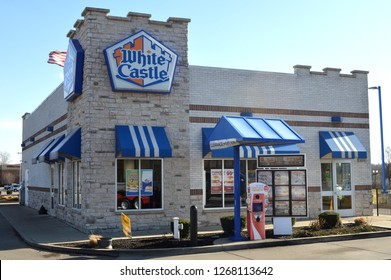 Columbus Ohio/USA - November 25,2018: White Castle restuarant exterior. White Castle is a fast food restaurant chain and generally credited as the first fast food chain in the United States.