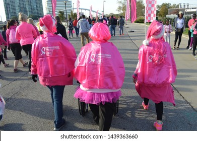 "Columbus, Ohio-USA October 21,2017: American Cancer Society ""Making Strides Against Breast Cancer"" Walk. Survivors, Family and Friends walk together through downtown Columbus."