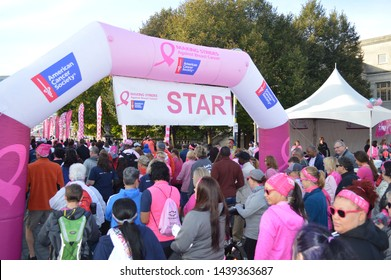 "Columbus, Ohio-USA October 21,2017: American Cancer Society ""Making Strides Against Breast Cancer"" Walk. Survivors, Family and Friends at the starting point of ACS walk in downtown Columbus"