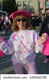 """Columbus, Ohio-USA October 21,2017: American Cancer Society """"Making Strides Against Breast Cancer"""" Walk. Survivors, Family and Friends walk together through downtown Columbus."""