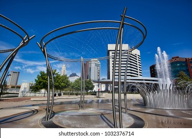 COLUMBUS, OHIO/USA - SEPTEMBER 13, 2016:  The fountains at Bicentennial Park along the Scioto Mile are a popular attraction in downtown Columbus, Ohio.