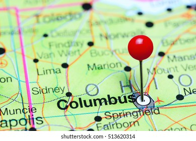 Columbus pinned on a map of Ohio, USA