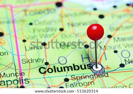 Map Of Ohio Usa.Columbus Pinned On Map Ohio Usa Stock Photo Edit Now 513620314