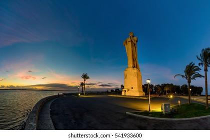 Columbus statue panorama, Huelva, Spain