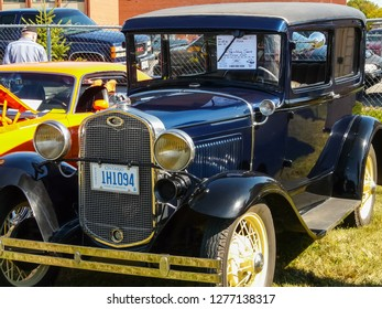 Columbus, USA - July 20, 2015: Exhibition of vintage rarity cars. Samples of the automotive industry of past years.