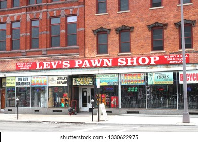 Columbus,Ohio February 28,2019: Lev's Pawnshop. Pawnbroker for loans and consignment sales.