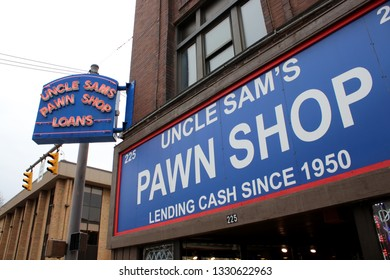 Columbus,Ohio February 28,2019: Uncle Sam's Pawnshop. Pawnbroker for loans and consignment sales.