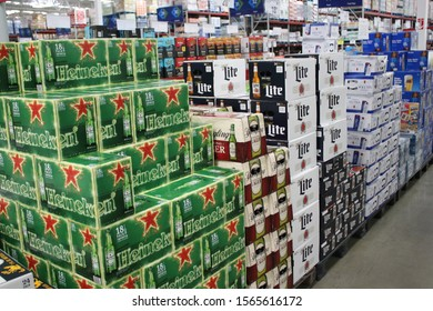 Columbus,Ohio November 17, 2019: Assorted cases of beer on display.
