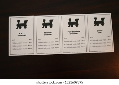 Columbus,Ohio September 25, 2019: Lucrative Railroad property deeds of the popular Hasbro board game Monopoly.