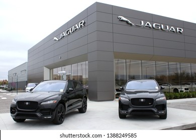 Columbus,Ohio/USA April 24, 2019: Jaguar is the luxury vehicle brand of Jaguar Land Rover, a British multinational car manufacturer with its headquarters in Whitley, Coventry, England.