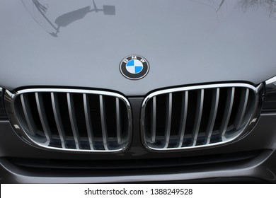 Columbus,Ohio/USA April 24, 2019: Signature Grill of late model 3-Series. BMW is a German multinational company which currently produces automobiles and motorcycles,