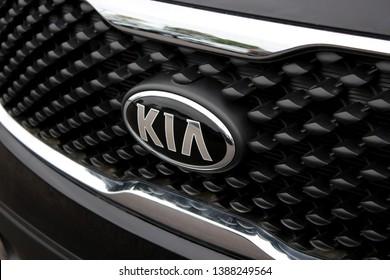 Columbus,Ohio/USA April 24, 2019: Signature Grill of late model Kia SUV.  Kia Motors Corporation, commonly known as Kia Motors, is South Korea's second-largest automobile manufacturer.