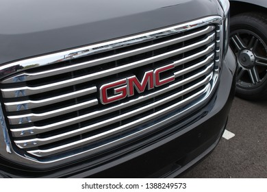 Columbus,Ohio/USA April 24, 2019: Signature Grill of late model GMC Pickup Truck. General Motors LLC, is a division of the American car and truck manufacturer.