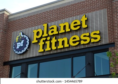 Columbus,Ohio-USA July 14,2019: Planet Fitness (PFIP LLC) is an American franchisor and operator of fitness centers based in Hampton, New Hampshire. The company reports that it has 1,742 clubs.