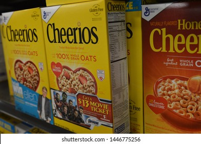 Columbus,Ohio-USA June 27,2019: General Mills Cheerios featured in the cereal aisle of a local supermarket.