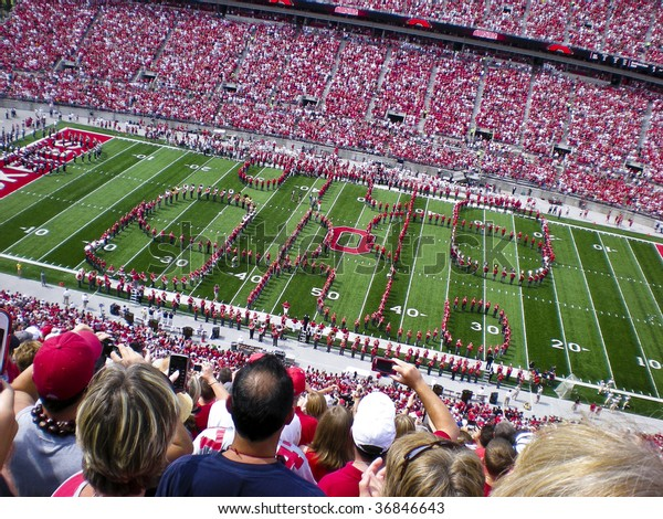 COLUMBUS,OH-SEPTEMBER 5:  The Ohio State Alumni band performs the famous Script Ohio with the current OSU band before the game against Navy on September 5, 2009.