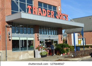 Columbus,OH/USA December 22,2018: Trader Joe's exterior and sign. Trader Joe's is an American privately held chain of specialty grocery stores headquartered in Monrovia, CA.