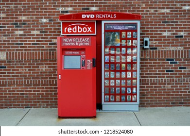 Columbus,OH/USA - July 24, 2017: Redbox DVD rental machine. Redbox  specializes in DVD, Blu-ray, and video game rentals via automated retail kiosks.