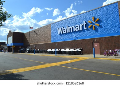 Columbus,OH/USA - July 24,2017: Walmart storefront. Walmart Inc. is American retail corporation operates a chain of hypermarkets, discount department and grocery stores.