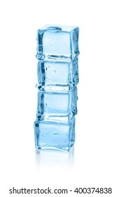 The column of blue melting ice cubes.  Isolated on a white background.